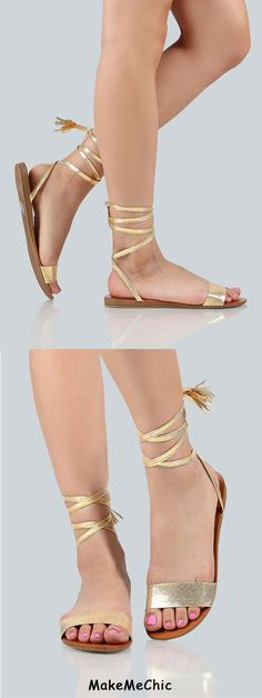 Metallic Lace Up Sandals CHAMPAGNE