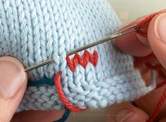 Duplicate stitch (also known as Swiss darning) is a useful technique for adding a surface design onto an already knitted piece
