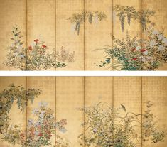 Tawaraya Sotatsu. Spring and Autumn Flowers, Fruits, and Grasses. Edo Period, 18th Century. Pair of six-fold screens. Mineral pigments on gold leaf | Kimbell Art Museum