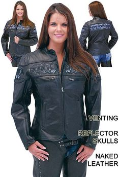NEW! $239.99  Wide band of reflective skull heads on this naked leather motorcycle jacket for women. This premium leather motorcycle scooter jacket is loaded with features zip vents, full sleeve zip out lining, inside vertical pockets and more.
