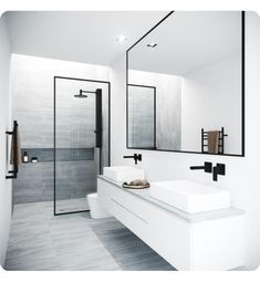 Vigo Meridian 33 - 73 Framed Fixed Glass Shower Screen in Matte Black - Badezimmer Amaturen Bathroom Layout, Modern Bathroom Design, Bathroom Interior Design, Minimal Bathroom, Bathroom Cabinets, Bath Design, Beautiful Bathrooms, Tile Layout, Contemporary Bathrooms