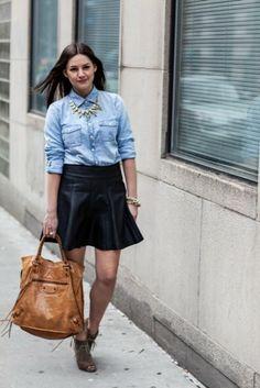 Denim shirt and leather skirt