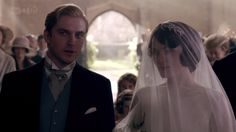 Mary and Matthew's wedding, Downton Abbey.