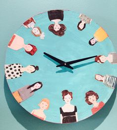 Amanda Blake fan art - decoupage clock, no numbers