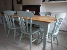 table and chairs laura ashley duck egg blue top needs white washing with