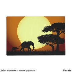 Safari elephants at sunset placemat
