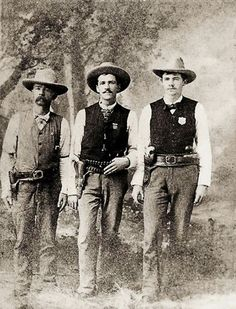 U.S. Marshal John Cahill (left), with two other unnamed lawmen. Somewhere in east Texas,  circa 1884.