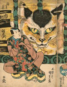 Utagawa Kunisada (Toyokuni III: 1786–1865), The Yatsuhashi Bridge of Okazaki, with Bandō Tamasaburō as Izayoi, Onoe Kikugorō III as Usugumo-dayū, and Ichimura Uzaemon XII as Inabanosuke from the series Fifty-Three Stations of the Tōkaidō Road, 1835. Color woodblock print; 22 3/8 x 36 7/8 inches. Courtesy of Hiraki Ukiyo-e Foundation. The LOLcats Of Japanese Print Art Have Officially Taken Over
