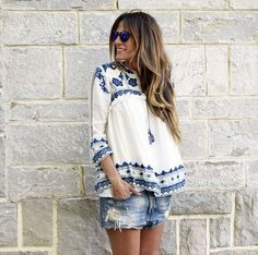 SheIn offers Blue White Knotted Embroidered Crop Outerwear & more to fit your fashionable needs. Love Fashion, Fashion Beauty, Fashion Outfits, Beauty Style, Summer Wear, Summer Outfits, Boho Look, Boho Style, Distressed Denim Shorts