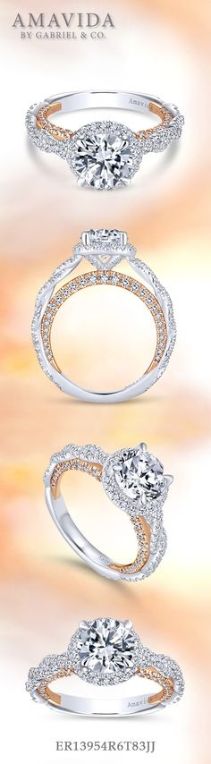 Gabriel - 18k White Gold / Rose Gold Round Halo Engagement Ring. Twisted strands of pave diamonds form the band of this enchanting engagement ring with a sparkling diamond halo. Rose gold and diamonds wait beneath the band just for your beloved. Find more here ->