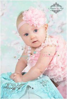9dd064e64d08 Large Baby Pink Tutu Dots Flower Headband Flower Girl Headbands
