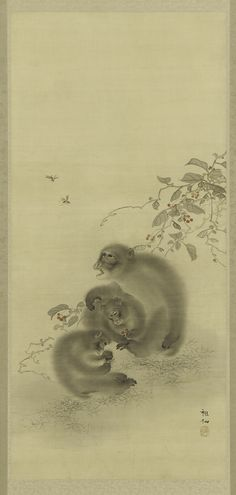 Three Monkeys and Wasps.       Hanging scroll (mounted on panel).  Maker(s)     Artist: Mori Sosen (1747 - 1821).  Historical period(s)     Edo period, late 19th century.