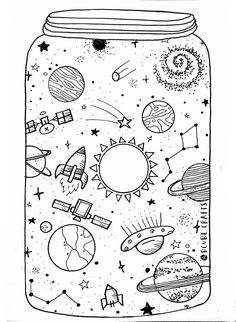 Solar System Planets Worksheet craftIdea org is part of Space drawings - Pretty Drawings, Cool Art Drawings, Art Drawings Sketches, Space Drawings, Pencil Art Drawings, Planet Drawing, Planet Sketch, Space Doodles, Doodle Art Drawing