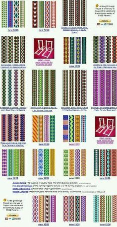"""Easy Beading Patterns for Looms - Bing images """"For the Inkle loom patterns / esquemas"""", """"free bead patterns for the loom. Maybe use these for Fair Isle Beading Patterns Free, Seed Bead Patterns, Jewelry Patterns, Beading Ideas, Beading Supplies, Knitting Patterns, Art Patterns, Color Patterns, Inkle Weaving Patterns"""