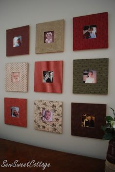 DIY Fabric Picture Frames && I was thinking some mod podge scrap book paper onto some wood? YUP!
