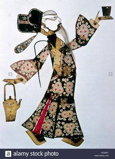 fine arts, China, Chinese shadow puppetry, shadow puppet, Szechuan style, 19th century, municipal museum Munich, Stock Photo
