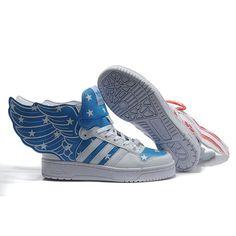 best website 28eff 91fd6 JS Women s adidas ObyO Jeremy Scott Wings 2.0 American Flag Shoes - White  Red Blue