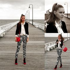 Sheike Shirt With Silver Detail And Collar Tips, Black And White Floral Zara Pants, Red Suede Rmk Shoes, Red Patent Mango Bag, Sportsgirl Metal Hair Band Cuff