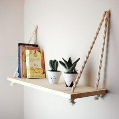This style of shelves for stuffed animals? Cute Diy Room Decor, Diy Home Decor, Hanging Shelves, Diy Hanging, Deco Tv, Solid Wood Shelves, Wood Shelf, Pinterest Diy, Home Decor Ideas