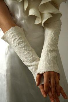 wool white wrist warmers