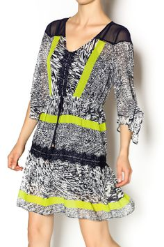 Cute multi print dress with draw string waist features V-neckline, three quarter split sleeves, ruffle at bottom with lace detailing and comes with mini slip to layer under the dress. Team it with a pair of cute sandals for the perfect summer look.    Printed Dress by Miarte. Clothing - Dresses - Printed Clothing - Dresses - Casual San Francisco