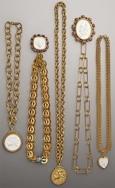 medallions, gold, chains