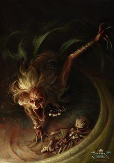 Desert Banshee / Гвинт :: The Witcher (Ведьмак, Witcher) :: Maciej Laszkiewicz :: фэндомы Monster Concept Art, Fantasy Monster, Monster Art, Arte Horror, Horror Art, Dark Fantasy Art, The Witcher, Mythological Creatures, Mythical Creatures