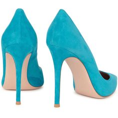 Gianvito Rossi Classic Turquoise Suede Pumps - Size 3 ($605) ❤ liked on Polyvore featuring shoes, pumps, suede shoes, pointed toe shoes, pointy toe pumps, slip-on shoes and turquoise pumps