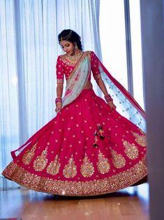 Bride With Pink Bridal Lehenga : Spotted Online Pink Bridal Lehenga, Designer Bridal Lehenga, Indian Bridal Lehenga, Indian Bridal Outfits, Indian Gowns, Bridal Dresses, Pink Lehenga, Wedding Lehanga, Bridal Dupatta