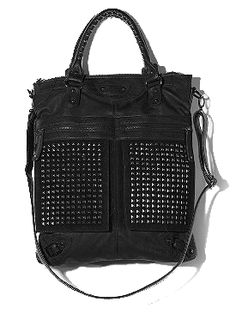 7 Chi Studded Tote - I need a black studded bag and this is it! Studs And Spikes, Pretty Little Liars Fashion, Studded Purse, Studded Handbags, Brown Bags, Cute Purses, Balenciaga City Bag, Purses And Handbags, Urban Outfitters