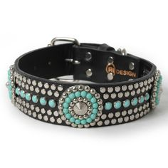 Turquoise and Silver Stud Conchos on Black Leather. This stunning black leather dog collar features an ornate combination of turquoise cabochon studs imported from Europe and silver metal studs.
