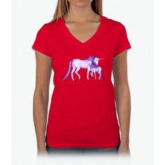 Purple Unicorns Womens V-Neck T-Shirt
