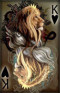 king of hearts by Decadia on deviantART Lion Wallpaper, Lion Pictures, Leo Lion, Lion Of Judah, Lion Art, King Of Hearts, Mythical Creatures, Black Art, Fantasy Art