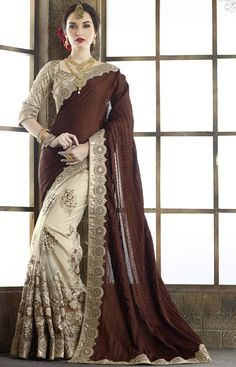 Beige Tussar-Silk Saree with Brown Pallu.| weddingz.in | India's Largest Wedding Company | Indian Bridal Saree Ideas |