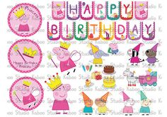 Instant Download - Party Kit - Princess/Fairy Peppa Pig & Friends Party Banner Wall/Table Decorations Cliparts