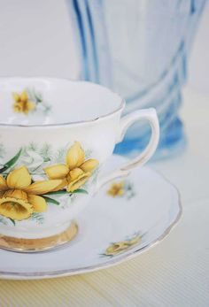 Daffodils on a tea cup. Perfect for welcoming in spring!