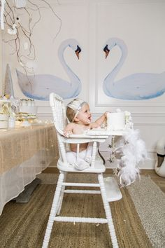 Baby girl's first swan lake birthday party eating cake monika hibbs Little Girl Birthday, Baby First Birthday, Boy Birthday Parties, Winter Birthday, Princess Birthday, Birthday Fun, Birthday Goals, Birthday Ideas, Lake Party