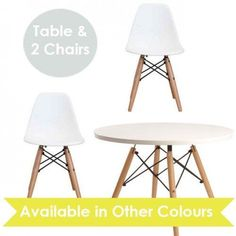 Little Eames Children's Table And Chairs Set Inspired by Charles & Ray Eames Eiffel Style Kids White Table + Set of 2 White Little DSW Chairs