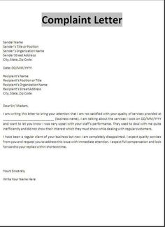 Contractor Complaint Letter - Protecting and informing consumers ...