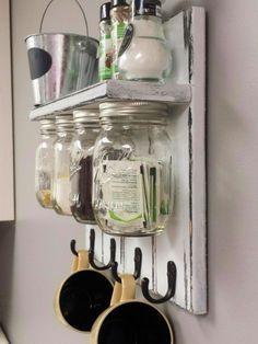 Mason Jar Organizer Kitchen Set With Shelf And by RecycledTrees