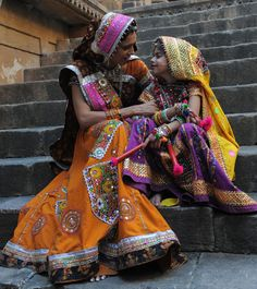 Dressed up to celebrate navratri festival. Great example of how to use our DIY Textile Discs http://plaza-studio.com/Garba-Disc