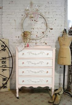 Painted Cottage Chic Shabby Pink French Dresser by paintedcottages.  Would love this for my sewing room