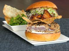 A great seafood burger, seared ahi with crispy won tons and wasabi mayonnaise