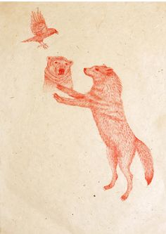 masako miki - red ink on paper this is so good. i need to draw more /: