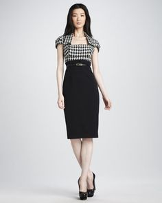 Black Halo Houndstooth-Top Dress - perfect for work!