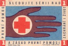 vintage matchbox cover with First Aid illustration: Hand