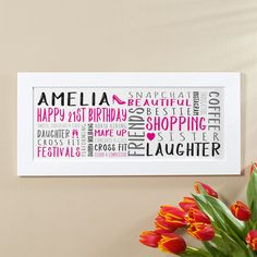 21st Birthday Gift for Her of Personalised Panoramic Word Art (magenta noir colour option). Beautiful Personalised Word Art Gifts to Commemorate a Landmark Birthday. Easy to Create, Preview on Screen Before You Buy & Fast Free Delivery. Create Now…