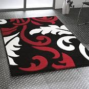 Modern Red Grey Black Damask Extra Large Rug Cheap Red White