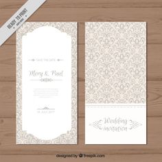 Convite de casamento elegante decorativa Vetor Premium
