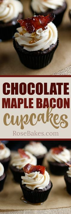 Chocolate Maple Bacon Cupcakes. Rich chocolate cupcakes and topped with Maple Brown Sugar Buttercream , then a piece of candied bacon and drizzled with pure maple syrup. The perfect combo of salty and sweet - creamy and crunchy.